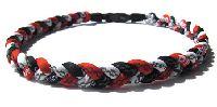 ファイテン三つ編みネックX50【レッド×ホワイト×ブラック】※長さ約50cm