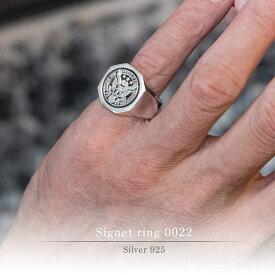 圧倒的な彫りの深さ 八角形 シグネットリング Sig030型 【 シルバー レディメイド 】 クレストリング 紋章デザイン カレッジリング クレスト リング フィリップカレッジリング Philip College Ring オリジナル 指輪 送料無料