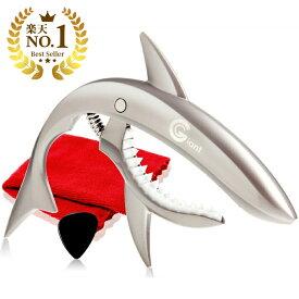 【送料無料】 Phoenix フェニックス ワンタッチ ギター カポタスト お手入れ用 ファイバークロス 0.71mm ティアドロップ タイプ ピック メーカー保証書 4点セット capo サメ デザインカポ/シャーク カポ シルバー