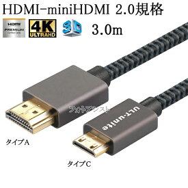 SANYO サンヨー対応 HDMI ケーブル HDMI (Aタイプ)-ミニHDMI端子(Cタイプ) 2.0規格対応 3.0m (イーサネット対応・Type-C・mini)