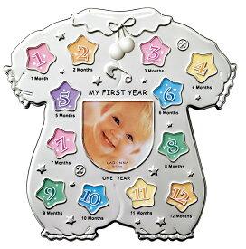 成長記録フォトフレーム ミニサイズ×13枚 MB45-130 ラドンナ 12ヶ月 1年 ベビー服 写真立て 出産祝い かわいい プレゼント LADONNA
