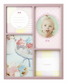 4窓フォトフレーム (ハガキ×2、ミニサイズ×2) MB83-40-PK/SV ラドンナ 優しげな色合い メタル多窓フレーム 写真立て かわいい 4枚 複数 赤ちゃん LADONNA
