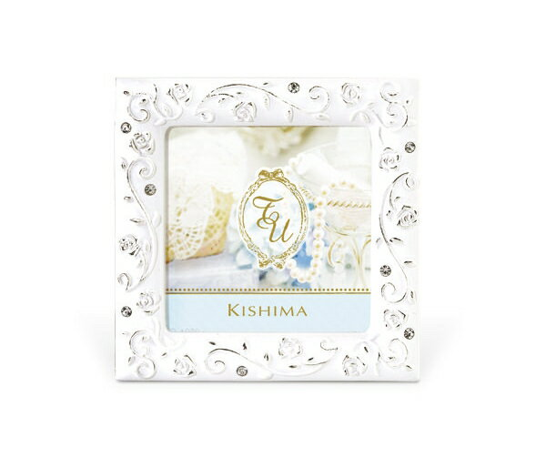 ウェディングフォトフレーム キシマ KP-31242 バラの模様 かわいい 上品 ミニサイズ 結婚祝い 白 小さい 写真立て SOPHIE(ソフィー)