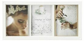 フォトフレーム L判×3枚 DF87-30 ラドンナ おしゃれ 天然木 白 ホワイト 写真立て 結婚式 お祝い 複数 3面 LADONNA