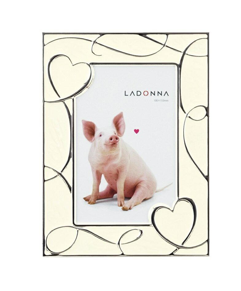 20%OFF フォトフレーム はがきサイズ(L判も可) NP08-P-WH ラドンナ ブタ ハート かわいい ポストカード 写真立て 結婚祝い プレゼント LADONNA