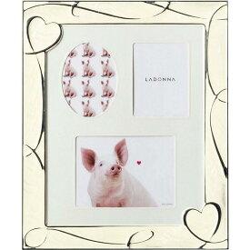 フォトフレーム 六つ切り(ハガキ×1、L判×2) NP08-06-WH ラドンナ ブタ ハート ブライダル 写真立て 壁掛け かわいい 結婚式 6切り LADONNA