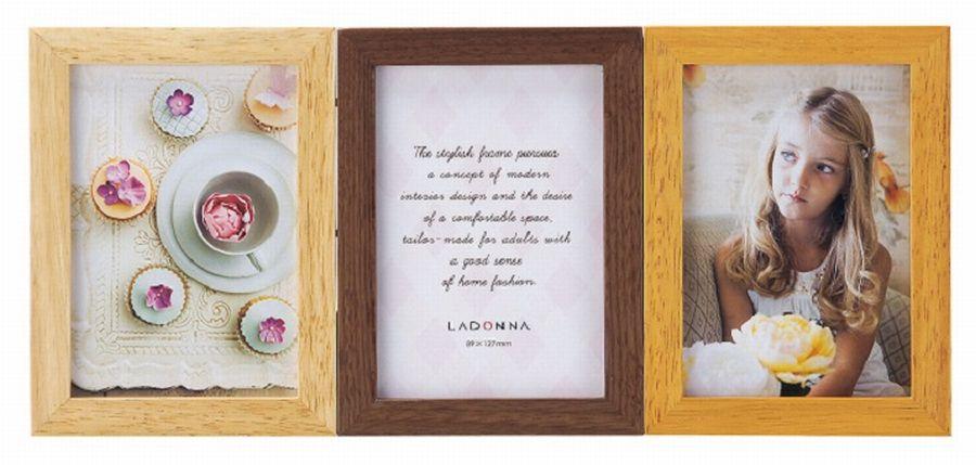 20%OFF 3窓フォトフレーム L判×3 DF65-30 ラドンナ 3枚の写真を飾れる天然木のフレーム 【写真立て・LADONNA・3枚・複数・多面】