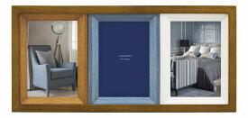 フォトフレーム 3窓 ハガキ判×3枚 CW39-30-BR/NT 木製 ナチュラル 壁掛け 男性 3面 複数枚 プレゼント 高級 ラドンナ LADONNA