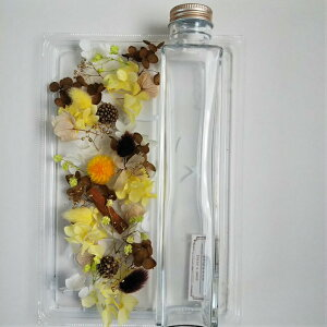 送料無料 ハーバリウム 制作キット(オイルなし) 四角柱 200ml 手作りキット 花材セット イエロー ブラウン プリザーブドフラワー インテリア雑貨 花材 瓶 プレゼント 材料 セット 製作 大人