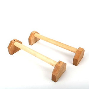 プッシュアップバー 木製 2個セット,頑丈倒立バー 滑り止め 安定性アップ 耐腕立てスタンド 逆スタンド 木製平行棒