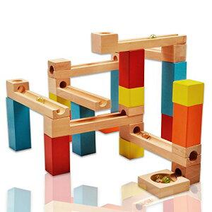 Wishtime 玉転がし ビーズコースター 木製おもちゃ スロープ 33点セット 木のおもちゃ 積み木 ブロック 知育 玩具 収納袋付き 立体パ