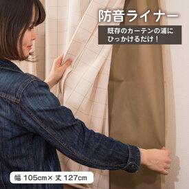 【ご使用中のカーテンが遮光・防音効果UP】かんたん防音ライナー1枚(幅105cm×丈127cm)