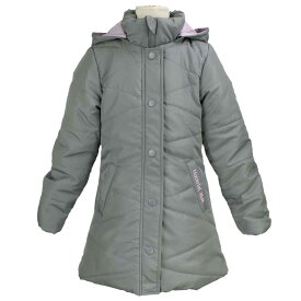fdcb0a09d454c 女の子 ジュニア 中綿ジャンパー Aライン ハーフ コート フードつき ジャケット シンプル無地 女の子 (グレー