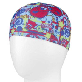 【メール便 送料無料】ボーイズ モンスター柄水泳帽子(スイムキャップ) (ブルー Sサイズ Mサイズ) ボーイズ キッズ 水着 全3色