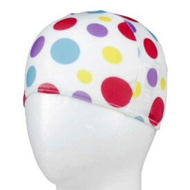 【メール便 送料無料】 マルチドット柄水泳帽(スイムキャップ) (ホワイト Sサイズ Mサイズ) ガールズ キッズ 水着 全3色