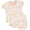 【ゆうメール 送料無料】女の子キッズメリーゴ-ランド柄半袖パジャマ (ピンク 100cm 120cm) ガールズ キッズ パジャマ 全1色