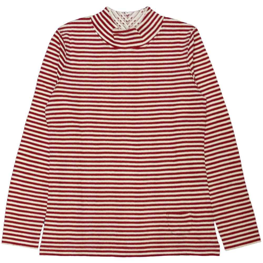 【メール便 送料無料】レディス大人ナチュラル系ハイネックニットシャツ (レッド Mcm Lcm) レディース トップス長袖 全4色