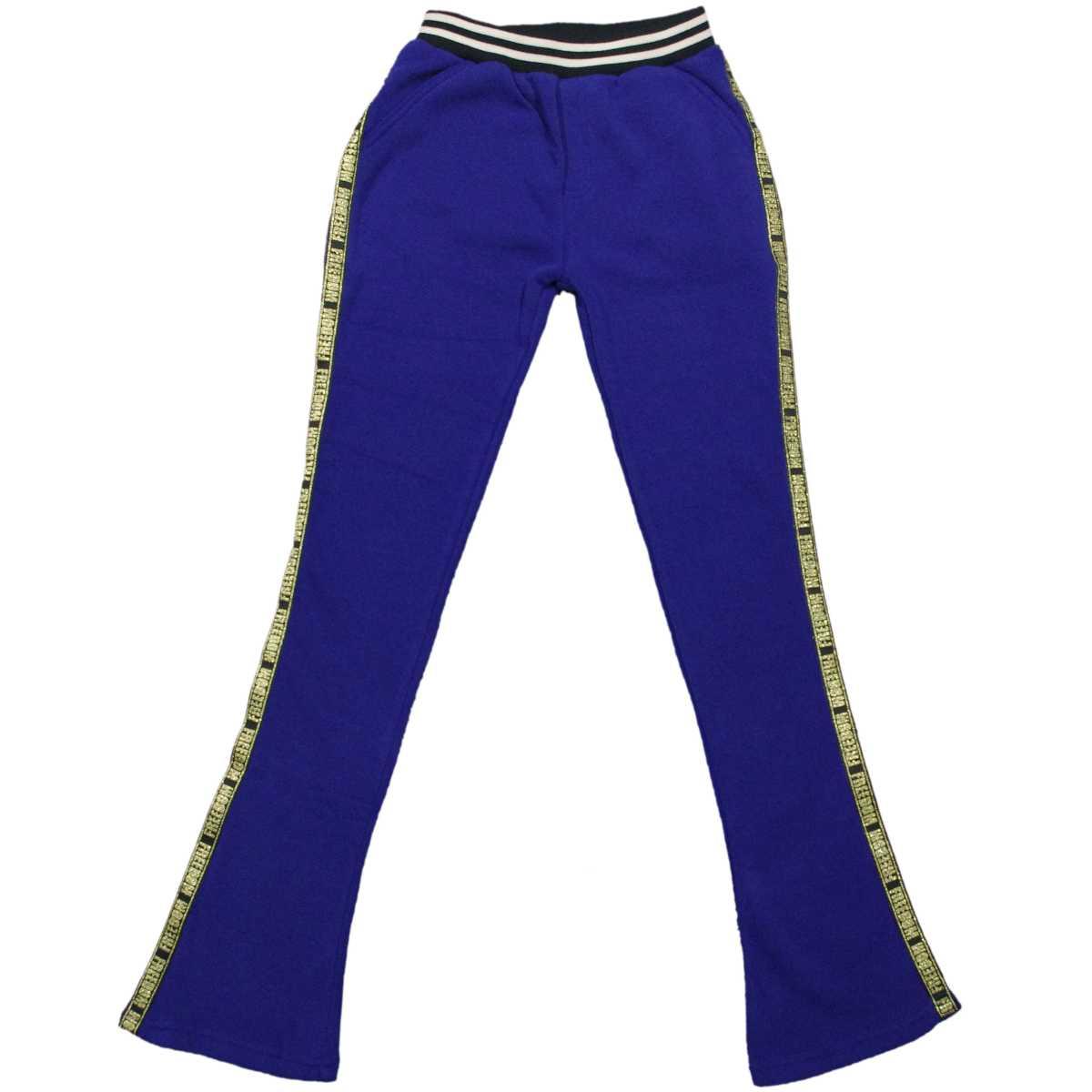 女の子 ジュニア 裏起毛素材綿ジャージパンツ (ブルー 140cm 150cm 160cm) ガールズ ジュニア ボトムス 全2色