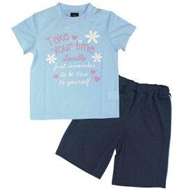 ガールズ キッズ 上下セット[Cute Paradise]Tシャツハーフパンツ 上下セット お花 英字ロゴ ロゴT Tスーツ セットアップ 女の子