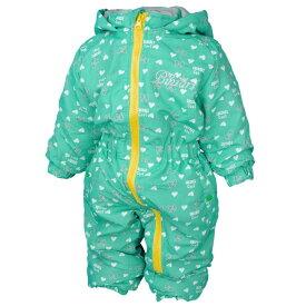 女の子 ベビー ハートとリボン柄 中綿入りジャンプスーツ 防寒 つなぎ スノーコンビ 雪遊び 子供用 (ミント 80cm 90cm 95cm) ガールズ ベビー スキーウェア 全4色