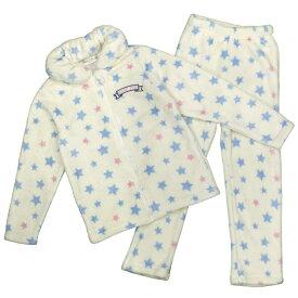 女の子 キッズ パジャマ サンゴマイヤーフリース素材 シープボア 上下 セットアップ 星柄 (オフホワイト 110cm 120cm 130cm) ガールズ キッズ パジャマ 全2色