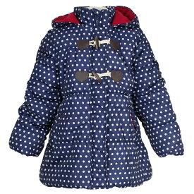 女の子 キッズ Aライン中綿 ジャンパー コート フード付き ジャケット ドット柄 女児 (ネイビー/ドット 120cm 130cm) ガールズ キッズ ジャンパー・コート 全2色