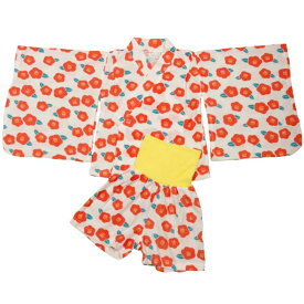 パジャマ 女の子 半袖 キッズ 女の子 キッズ 浴衣風 半袖 パジャマ 上下セット 花 椿 和柄 梨地 腹巻付き パジャマ 女児 子供用 (レッド 100cm 110cm 120cm 130cm) ガールズ キッズ パジャマ 全2色