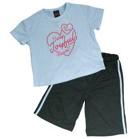 ガールズ キッズ 上下セット[Cute Paradise]女の子 半袖 Tスーツ Tシャツ ハーフパンツ 上下セット ハート柄 ロゴT セットアップ