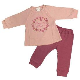 パジャマ 女の子 ベビー 長袖 上下セット 苺 いちご柄 寝間着 裏毛 (PK/ピンク 80cm 90cm 95cm) ガールズ ベビー パジャマ 全1色