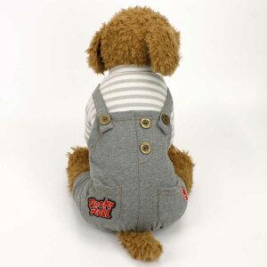 犬の服 オーバーオール 小型犬用 秋 冬 かわいい おしゃれ ドッグウェア つなぎ ボーダー柄 犬 猫 ペット (グレー Lサイズ Sサイズ Mサイズ) 犬服 犬服 全2色