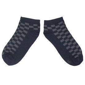 ソックス メンズ 靴下 紳士用 綿混 ショート シンプル くつした 男性用 (格子/ネイビー 25-27cm) メンズ ソックス 全6色
