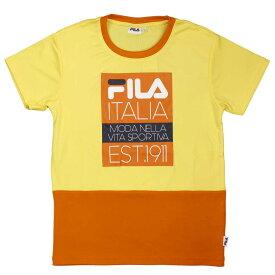 FILA(フィラ) 吸汗速乾 スポーツ Tシャツ ロゴT 配色切替 子供用 (イエロー 140cm 150cm 160cm) ガールズ ジュニア トップス半袖 全2色