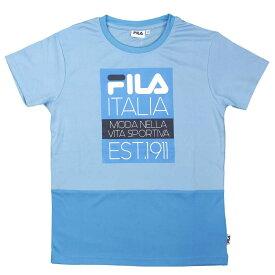 FILA(フィラ) 吸汗速乾 スポーツ Tシャツ ロゴT 配色切替 子供用 (サックス 140cm 150cm 160cm) ガールズ ジュニア トップス半袖 全2色