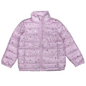 女の子 キッズ ファイバーダウンジャケット ジャンパー フルジップアップ 雪の結晶柄 防寒 女児 (ピンク 110cm 120cm 130cm) ガールズ キッズ ジャンパー・コート 全2色