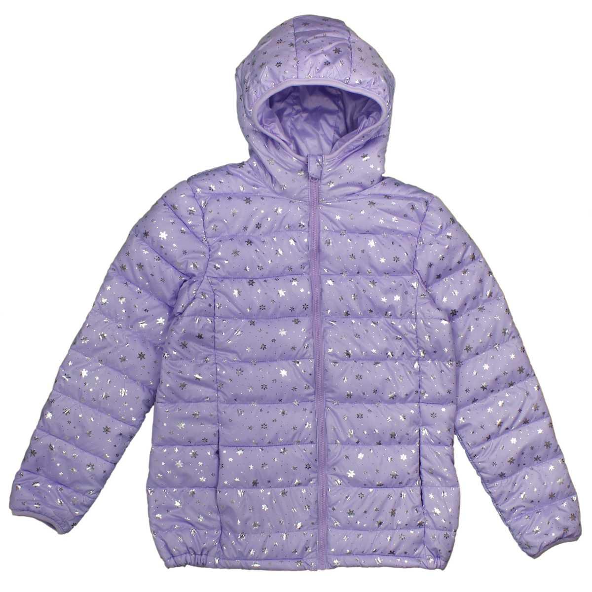 女の子 ジュニア ファイバーダウンジャケット ジャンパー フルジップアップ 雪の結晶柄 女児 (パープル 140cm 150cm 160cm) ガールズ ジュニア ジャンパー・コート 全3色