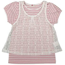 キャミ アンサンブル 総レースキャミソール ボーダー柄 半袖Tシャツ 女児 子供用 (ホワイト/ピンク 110cm 120cm 130cm) ガールズ キッズ トップス半袖 全2色