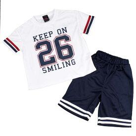 女の子 キッズ Tシャツハーフパンツ 上下セット ユニフォーム風 ロゴT Tスーツ セットアップ (ホワイト/ネイビー 110cm 120cm 130cm) ガールズ キッズ 上下セット 全2色