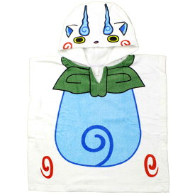 妖怪ウォッチ コマさん なりきり変身 ポンチョ ラップタオル 海 プール スイミング キャラ (ホワイト/サックス 50x50cm) ボーイズ キッズ 水着 全1色