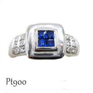 サファイア リング ダイヤモンド ジュエリー 指輪 宝石 青 ブルー 紺 ネイビー しかく 幅広 分厚い 大きい 大きめ 12号 あお ダイア Sa0.37ct D0.11ct プラチナ Pt900 保証書 ケース付 四角 スクエア
