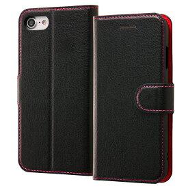 iPhone SE 第2世代 se2 ケース 手帳型ケース シンプル マグネット ブラック/ピンク 第二世代 2020 iphone8 アイフォン8 iphone7 アイフォン7 カバー レイアウト RAYOUT レイ・アウト