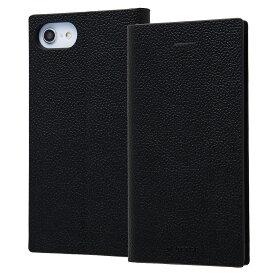 iPhone SE 第2世代 se2 ケース 耐衝撃 手帳型レザーケース TETRA サイドマグネット ブラック 第二世代 2020 iphone8 アイフォン8 iphone7 アイフォン7 カバー レイアウト RAYOUT レイ・アウト