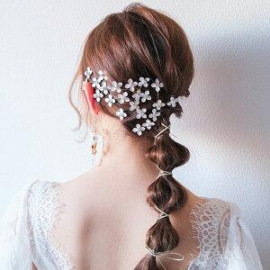 【送料無料】クリックポスト (4点セット) ブライダルヘッドドレス 白い小花 ピンゴールド p16( ヘッドドレスヘッドパーツ ヘッドコサージュ 花嫁 結婚式 ブライダルアクセサリー ウエディ