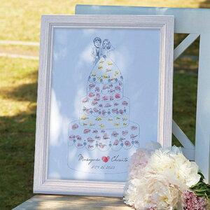 【送料無料】にがおえ指紋アート Wedding Cake -ウェディングケーキ-ウェディングツリー プレゼント 結婚式 ギフト お祝い 披露宴 ウェディング ウエルカムスペース