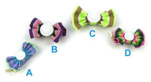 【fafa/フェフェ ヘアクリップ】TIFFANY(Hair Clip)ストライプリボン×お花モチーフボタンが可愛いヘアクリップ