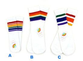 RAINBOW STRIPED TUBE SOCKS / pride socks