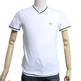 EMPORIO ARMANI エンポリオアルマーニ VネックTシャツ 3Z1T791-J09Z-0100 ホワイト 白 刺繍 ロゴ メンズ