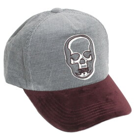 【送料無料】lucien pellat-finet ルシアンペラフィネ メンズ キャップ 帽子 CAP75 コーデュロイ GREY/BORDEAUX グレー/ワインレッド ボルドー スカル ドクロ