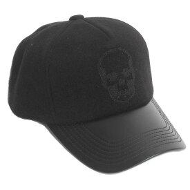 lucien pellat-finet ルシアンペラフィネ メンズ キャップ 帽子 CAP81 BLACK/BLACK カシミア/シープレザー ブラック スカル