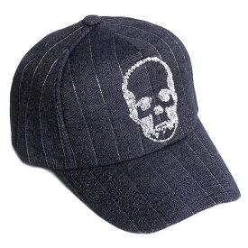 lucien pellat-finet ルシアンペラフィネ メンズ キャップ 帽子 CAP82 INDIGO/SILVER インディゴ/シルバー スパンコール スカル デニム