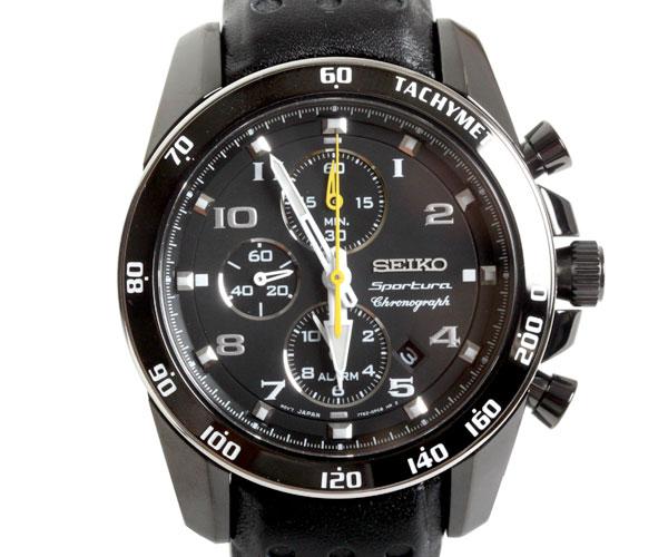 【送料無料】SEIKO セイコー メンズ腕時計 Sportura スポーチュラ クロノグラフ SNAE67P1 ブラック文字盤 メンズ 時計 【楽ギフ_包装】